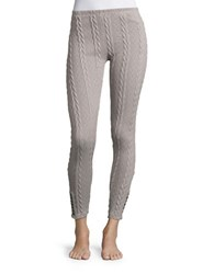 Lemon Cable Knit Leggings Grey