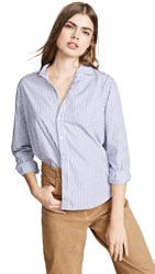 Frank And Eileen Button Down Shirt Washed Blue White Stripes