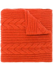 N.Peal Wide Cable Scarf Yellow And Orange
