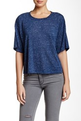 Bcbgeneration Elbow Sleeve Marled Boxy Tee Blue