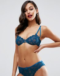 Asos Gianna Lace Underwire Bra With Satin Detail Vintage Blue