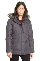 Larry Levine Faux Fur Trim Hooded Down And Feather Fill Jacket Steel