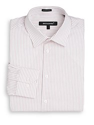 Bogosse Slim Fit Striped Cotton Dress Shirt White