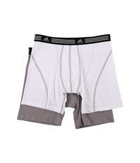 Adidas Athletic Stretch 2 Pack Boxer Brief White Aluminum 2 Aluminum 2 Men's Underwear
