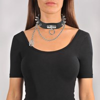 Moschino Choker Necklace In Black Calfskin Leather