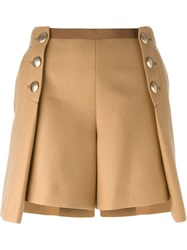 Sacai Luck Pleated Overlay Buttoned Shorts Brown