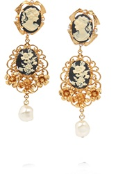 Dolce And Gabbana Gold Plated Faux Pearl Cameo Clip Earrings