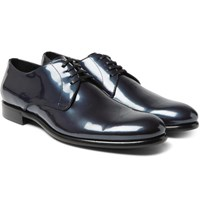 Dolce And Gabbana Metallic Patent Leather Derby Shoes Blue