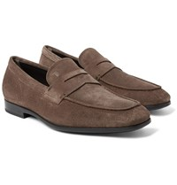 Tod's Suede Penny Loafers Brown