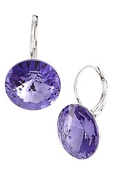Women's L. Erickson 'Celeste' Round Crystal Drop Earrings Tanzanite Silver