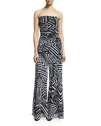 Fuzzi Strapless Tribal Print Mesh Jumpsuit Black