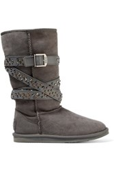 Australia Luxe Collective Devil Studded Leather Trimmed Shearling Boots Gray