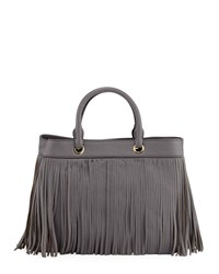 Milly Essex Fringe Leather Tote Bag Gray