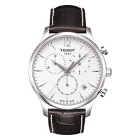 Tissot T0636171603700 Men's Tradition Chronograph Date Leather Strap Watch Dark Brown White