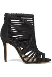 Schutz Braided Suede Sandals Black