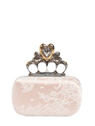 Alexander Mcqueen Satin And Lace Heart Knuckle Box Clutch