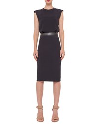 Akris Sleeveless Banded Waist Sheath Dress Black