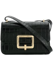 Bally Croco Effect Shoulder Bag Black