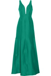 Halston Heritage Cotton And Silk Blend Gown Jade
