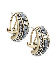 Heidi Daus Crystal J Hoop Earrings Gold