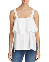 Marled Button Front Ruffle Tank 100 Bloomingdale's Exclusive White