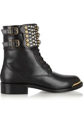 Rene Caovilla Swarovski Crystal Embellished Leather Boots Black