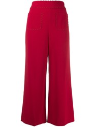 Red Valentino Scalloped Detail Cropped Flared Trousers