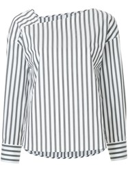 Des Pres Asymmetric V Neck Stripe Blouse Grey