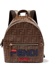Fendi Leather Trimmed Printed Coated Canvas Backpack Brown