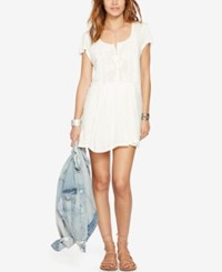 Denim And Supply Ralph Lauren Short Sleeve Lace Boho Dress Antique Cream