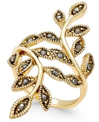 Inc International Concepts Gold Tone Black Crystal Bypass Vine Ring Only At Macy's