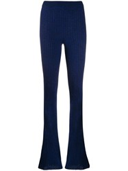 Mrz Knitted Flared Trousers Blue