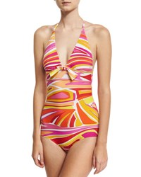 Emilio Pucci Lance One Piece Swimsuit With Front Knot Detail Pink White Yellow Pink Pattern