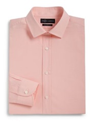 Ralph Lauren Black Label Tailored Fit Micro Check Dress Shirt Orange