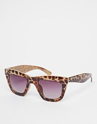 Warehouse Retro Angle Sunglasses Brown