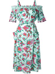 Tanya Taylor Floral Bardot Dress Women Silk 2 Green