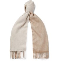 Begg And Co Arran Two Tone Fringed Cashmere Scarf Neutral