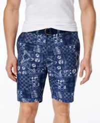 American Rag Men's Tie Dye Patchwork Print Shorts Only At Macy's Dark Blue