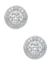 Cz By Kenneth Jay Lane Princess Cut Cz Filagree Stud Earrings No Color