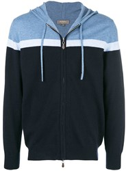 N.Peal Stripe Hooded Jumper Blue