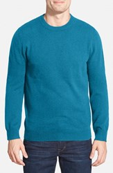 Men's Big And Tall Nordstrom Cashmere Crewneck Sweater Teal Steel