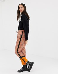Maison Scotch Floral And Contrast Panel Print Trousers Combo A Orange