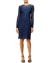 Elie Tahari Bellamy Long Sleeve Crochet Lace Dress Blue Black