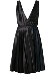 Cedric Charlier Cedric Charlier Pleated Plunging Neck Dress Black