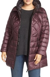 Bernardo Plus Size Women's Down And Primaloft Quilted Walker Coat Dark Plum Cinder