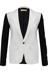 Michael Michael Kors Color Block Stretch Cotton Poplin Blazer White