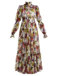 Dolce And Gabbana Primrose Print Silk Chiffon Maxi Dress White Multi