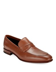 A. Testoni Leather Dress Slip Ons Caramel