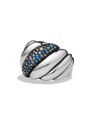 David Yurman Hampton Cable Ring With Grey Diamonds And Blue Sapphires Silver