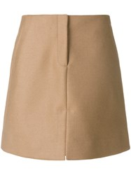 Calvin Klein A Line Skirt Wool Camel Fur Brown